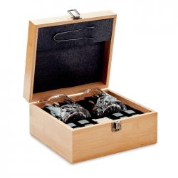 Whisky set in bamboo box...