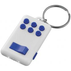 Flip-and-click anti-stress LED light keychain